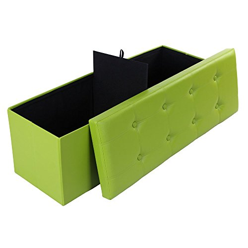 Songmics Faux Leather Folding Ottoman Storage Shoe Bench Armless, Green 43.3