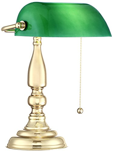 Hammond Green Glass Brass Bankers Table Lamp - Antique Green Table Lamp
