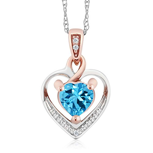 10K White and Rose Gold Swiss Blue Topaz and Diamond Heart Shape Pendant Necklace (0.56 cttw, With 18 inch Chain) by Gem Stone King