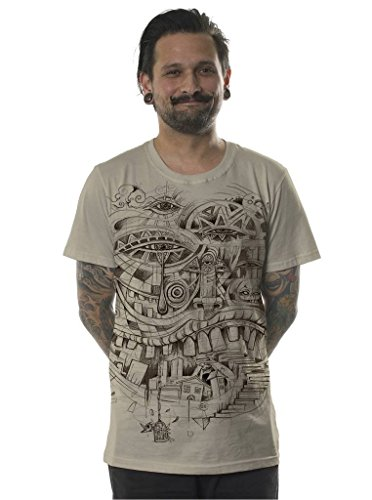 Mens Urban T-Shirt Illuminati City Steps Graphic L Sand Alternative Trippy Top