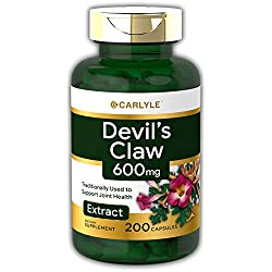Carlyle Devils Claw 600 mg (200 Capsules) – Concentrated Root Extract, Non-GMO, Gluten Free Supplement
