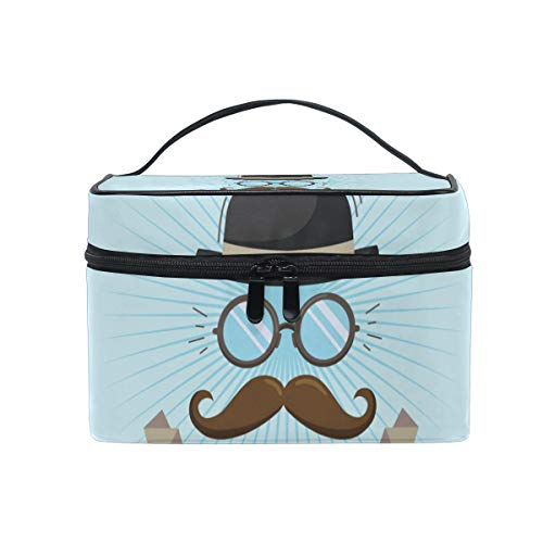 Hengpai Mustache Glasses Hat For Fathers Day Cosmetic Bag Travel Makeup Train Cases Storage Organizer for Women by hengpai