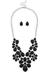 Lux Accessories Womens Tribal Floral Bib Stone Statement Necklace + Earring set