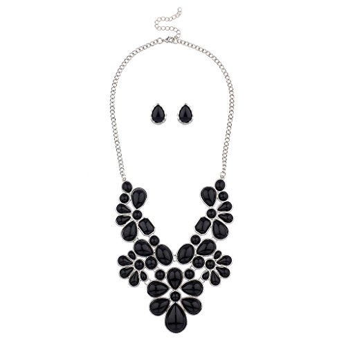 Lux Accessories Black Faceted Flower Floral Bib Statement Necklace Matching Earrings
