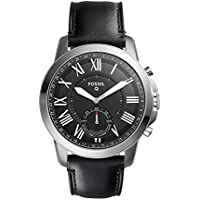 Fossil Q Grant Silver Tone Black Leather Hybrid Men's SmartWatch