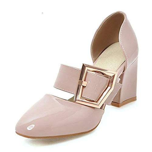 Women High Heel Sandals 2019 Buckle Square Heels Shoes Women Patent Leather Casual Party Shoes Size 32-43,Pink,7 ()