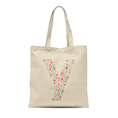 Gift Any Letter Birthday Tote Floral Letter Y Personalised Present Bag Alphabet Shopper U78wnO