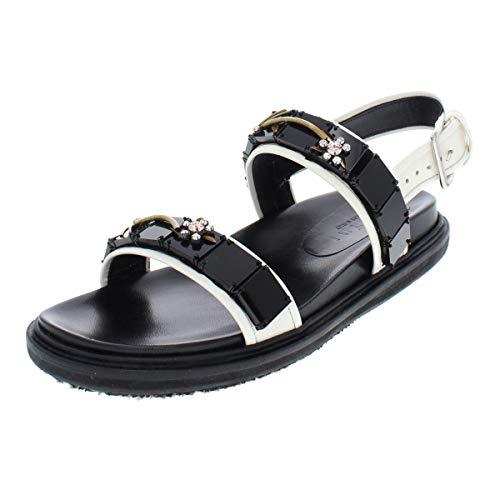 Marni Fusbett Embellished Sandals Women's Size 9 M Alabaster Black