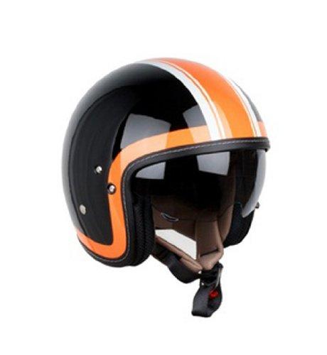 XPEED Helmet XF-312 HERITAGE No.F1,Black & Orange,Open Face,Vintage Style,Inner Shield, Bike Racing Motorcycle Helmet Accessories - Made in Korea