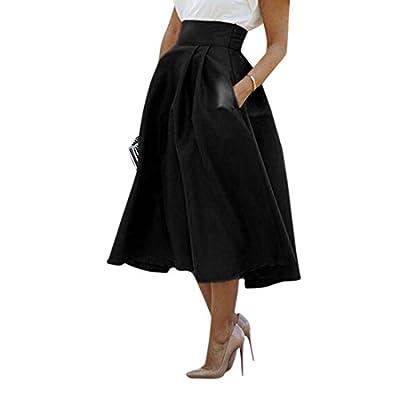WLLW Women High Waisted A line Street Skirt Skater Pleated Full Midi Skirt Dress