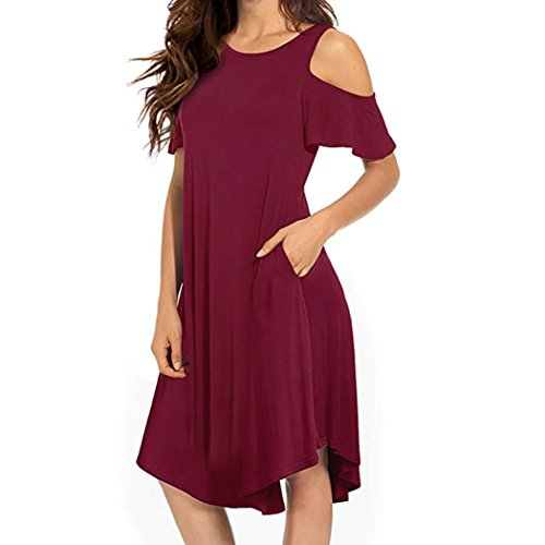 ❤️ Vestido a Media Pierna con Hombros Descubiertos para Mujer,Vestido de Oscilación de Manga Corta con Bolsillos Absolute Rojo