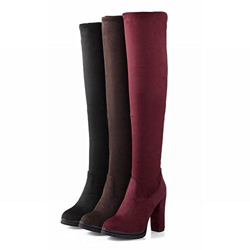 Carolbar Womens Fashion Rits Dual-purpose Jurk Platform Hoge Dikke Hak Knie Hak Laarzen Zwart