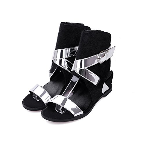 Amoonyfashion Donna Misto Materiali Assortiti Fibbia A Colori Open Toe Gattini Sandali Tacchi Argento