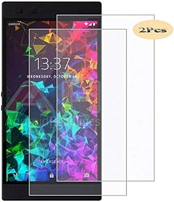 XunEda Razer Phone 2 Protector de Pantalla, Vidrio Cristal Templado 9H Dureza,Alta Definicion Cristal Screen Protector para Razer Phone 2 Smartphone-2 Pack: Amazon.es: Electrónica