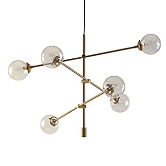 Mid century modern antique gold chandelier with 6 oversized glass lower priced items to consider aloadofball Gallery
