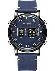 Elegante Reloj de Pulsera para Hombre, Correa de Piel auténtica, Movimiento de Cuarzo, Resistente al Agua y a los arañazos, cronógrafo analógico de Negocios Relojes