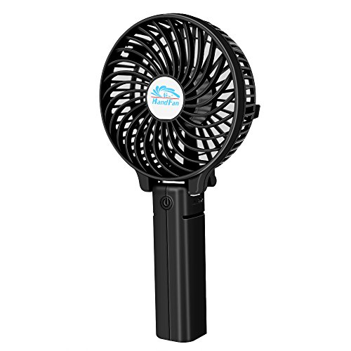 Mini Handheld Fan, VersionTech Foldable Personal Portable Desk Desktop Table Cooling Fan with USB Rechargeable Battery Operated Electric Fan for Office Room Outdoor Household Traveling(3 Speed, Black)