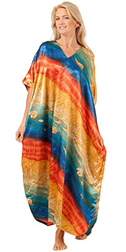 Winlar Caftans Satin Charmeuse - One Size Kaftans In Rainbow Seas (One Size Fits Most, Blue/Orange/Gold) -