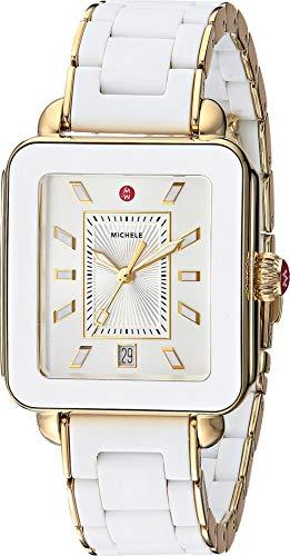 (Michele Women's Deco Sport - MWW06K000016 White Wrapped Silicone/Gold Tone Case/Silver/White Sunray Dial One Size)