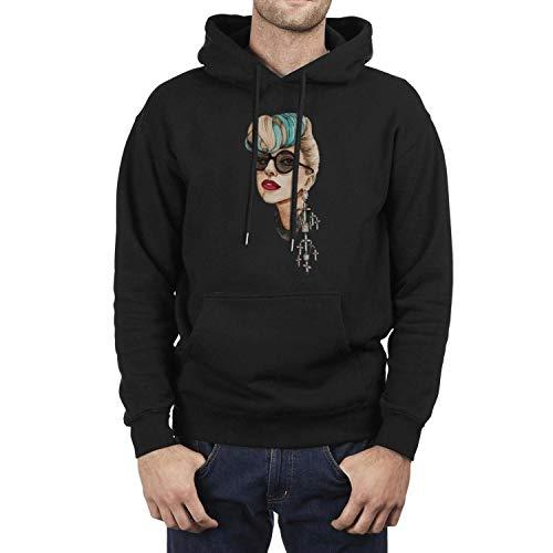 Iushfss Black Hoodie for Men Sweatshirt Winter Fleece Casual Pullover Hoodie -
