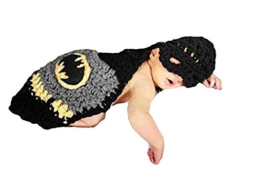 Eyourhappy Handmade Knitted Crochet Costume Newborn Baby Photograph Props Set Batman Hat Veil (Handmade Batman Costume)