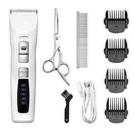 Bousnic Dog Clippers 2-Speed Cordless Pet Hair Grooming Clippers Kit – Professional Rechargeable for Small Medium Large Dogs Cats and Other Pets