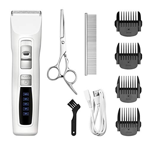 Bousnic Dog Clippers 2-Speed Cordless Pet Hair Grooming Clippers Kit – Professional Rechargeable for Small Medium Large Dogs Cats & Other Pets