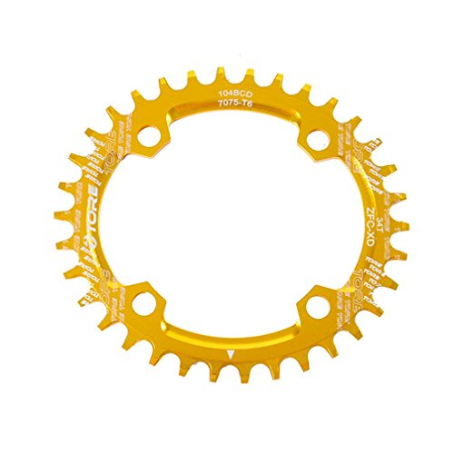 Mountain Chain Ring, Napoo Alloy Bike 104BCD 32T Ultralight Bicycle Chainring Oval Round Chainwheel (52t Triple Crankset)