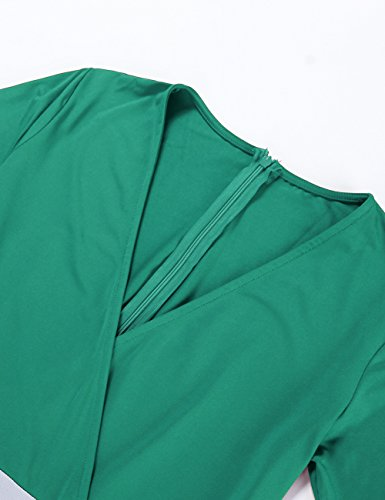 De Col Court Hit Manche S Vert Chic Robe xxl Ete Femme V Feelingirl Taille Vacance Plage Rayure Longue Colour Haute 4A8EwO