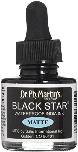 Dr. Ph. Martin's 400034-XXX Black Star India Ink, 1.0 oz, Black, - Ink Artists