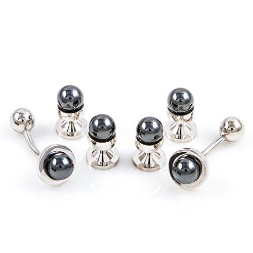 Tuxedo Pearl (MRCUFF Simulated Black Pearl Tuxedo Cufflinks & Studs Set in a Presentation Gift Box & Polishing Cloth)