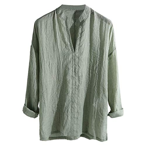 - POQOQ Men's Casual Shirt Breathable Long Sleeve Loose Solid V-Neck Top Blouse(Green,L)