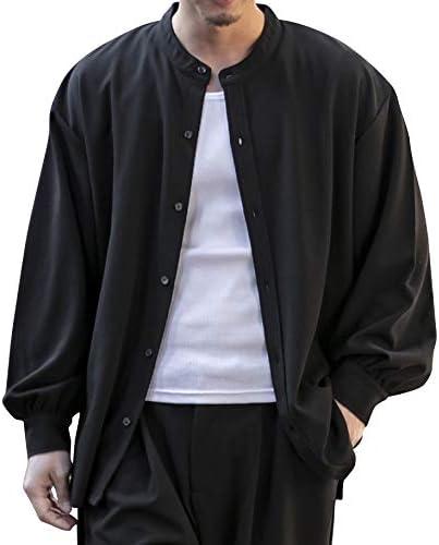 (アドミックス アトリエサブメン) ADMIX ATELIER SAB MEN メンズ シャツ 梨地 ジャージ ストレッチ オーバーサイズ バンドカラー 長袖 シャツ セットアップ対応 02-61-9907