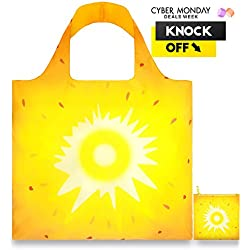 LOQI™ Reusable Grocery Foldable Bags ✔ ECO Shopping HandBags ✔ Tote Bags ✔ Shoulder Bags with Zipper Pouch ✔ Polyester ✔ Frutti Pineapple