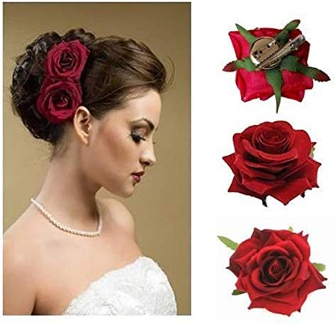 Jagtek Flower Hair Clips Hair Pin Dark Red Rose Hair Accessories