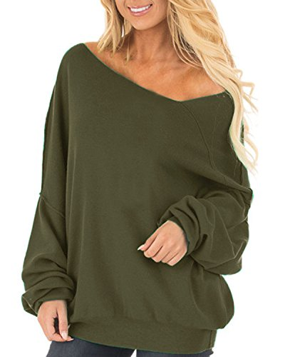 Auxo Womens Off The Shoulder Tops Baggy Shirt