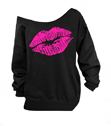 Womens Off Shoulder Sweatshirts with Sexy Lips Print. 7 Colors - Sizes 4 to 12