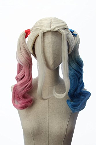 Price comparison product image Blue Blonde Pink Long Double Ponytail for Party Costume Anime Cosplay Wigs inspired by Harley Quinn Suicide Squad