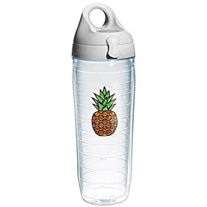 Tervis Pineapple Expression Emblem and Water Bottle with Grey Lid, 24-Ounce, Beverage by Tervis
