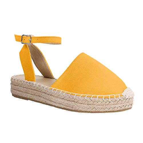 (LAICIGO Womens Closed Toe Espadrilles Platform Mid Wedge Heel Shoes Ankle Strap Sandals)