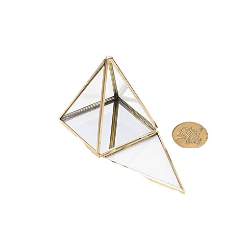 - Golden Shapes Pyramid Vintage StyleTrans Brass Tone Metal Frame Chest Geometric Terrarium Window Box Storage Clear Glass Mirrored Shadow Box Jewelry Stand Display Case Air Plant Slanted Top Swing Lid