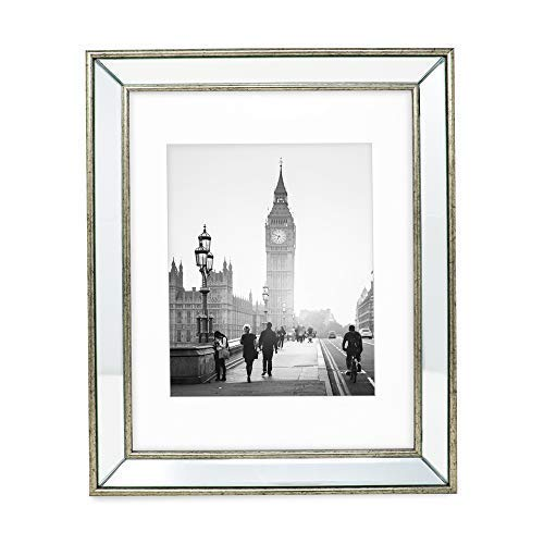 Jacobs Photo - Isaac Jacobs 11x14 (Matted 8x10) Silver Beveled Mirror Picture Frame - Classic Mirrored Frame w/Deep Slanted Angle Made for Wall Décor Display, Photo Gallery & Wall Art (11x14 (Matted 8x10), Silver)
