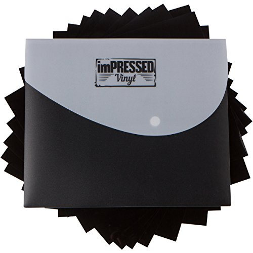Black Heat Transfer Vinyl - 10 Pack of 12x10 Black HTV Sheets Including Storage case and Instructions (Black - 10 Sheets)