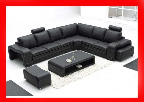Amazon.com: 3330 Black Sectional Sofa Set With 2 Footrests And Coffee Table:  Kitchen U0026 Dining