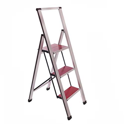 (Aluminum Folding 3 Step Ladder, Anti Slip, Sturdy, Lightweight and Slim Design, Heavy Duty, Silver/Faux Wood Step)