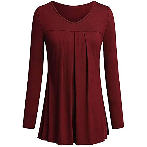 (vermers Clearance Womens Tunic Tops - Women's Casual O-Neck Long Sleeve Solid Pleated Front Blouses T Shirt(S, Red))