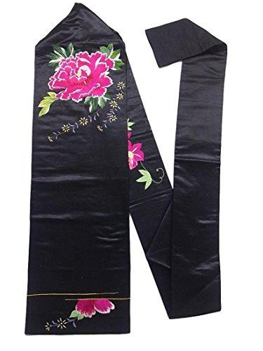 しかし驚いたスペシャリストアンティーク 名古屋帯 繻子 刺繍 大輪の牡丹文 正絹