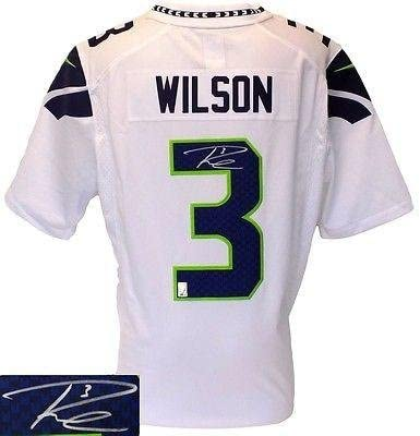 Russell Wilson Autographed Jersey - White Nike Limited Holo ...