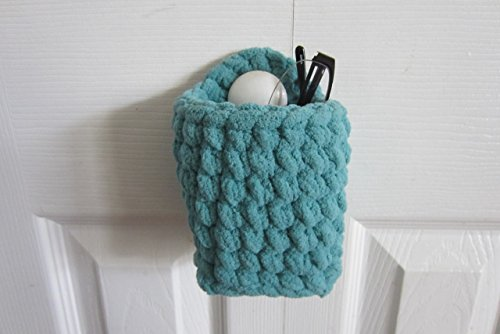Hanging Glasses Holder, Upright Eyeglass Case - works for iPhone Smartphone or Eyeglasses, Crocheted Space Saver Soft Wall Basket, Hang on Hook- Many Color Choices