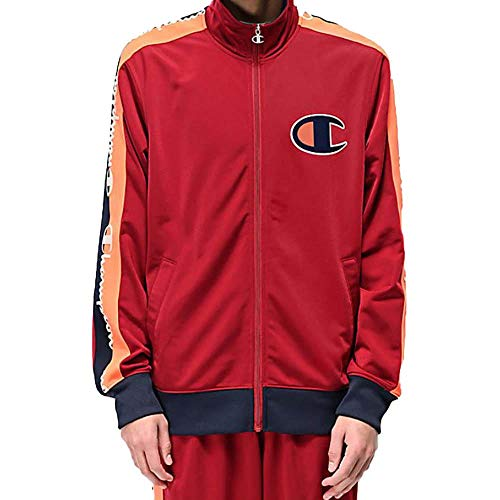 - Champion LIFE Men's Track Jacket, Cherry Pie/Navy w/c Plush Knit Logo Large